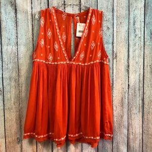 Free People Orange/Red Embroidered Top